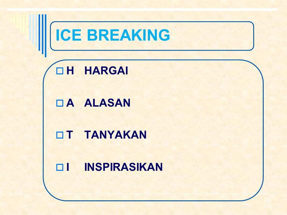 ICE BREAKING  AWAL TRAINING : 1. Perkenalan 2. Teknik HATI 3. Magic words 4. Yel – Yel 5. Dll 9