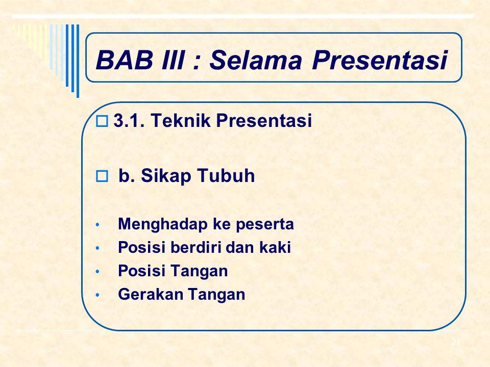 BAB III : Selama Presentasi  3.1. Teknik Presentasi  a. Suara Intonasi dan Volume Suara Tempo dan Lafal Kata Penekanan Suara Jeda Foghorn Rubbish Wo