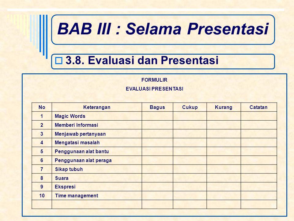 BAB III : Selama Presentasi  3.7. Menutup Presentasi  a. Memberi kesempatan terakhir kepada audisi untuk bertanya  b. Menyimpulkan  c. Komitmen 34
