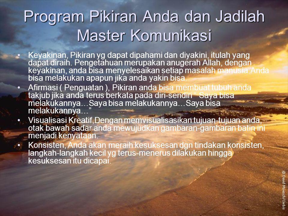 Program Pikiran Anda dan Jadilah Master Komunikasi Keyakinan, Pikiran yg dapat dipahami dan diyakini, itulah yang dapat diraih. Pengetahuan merupakan