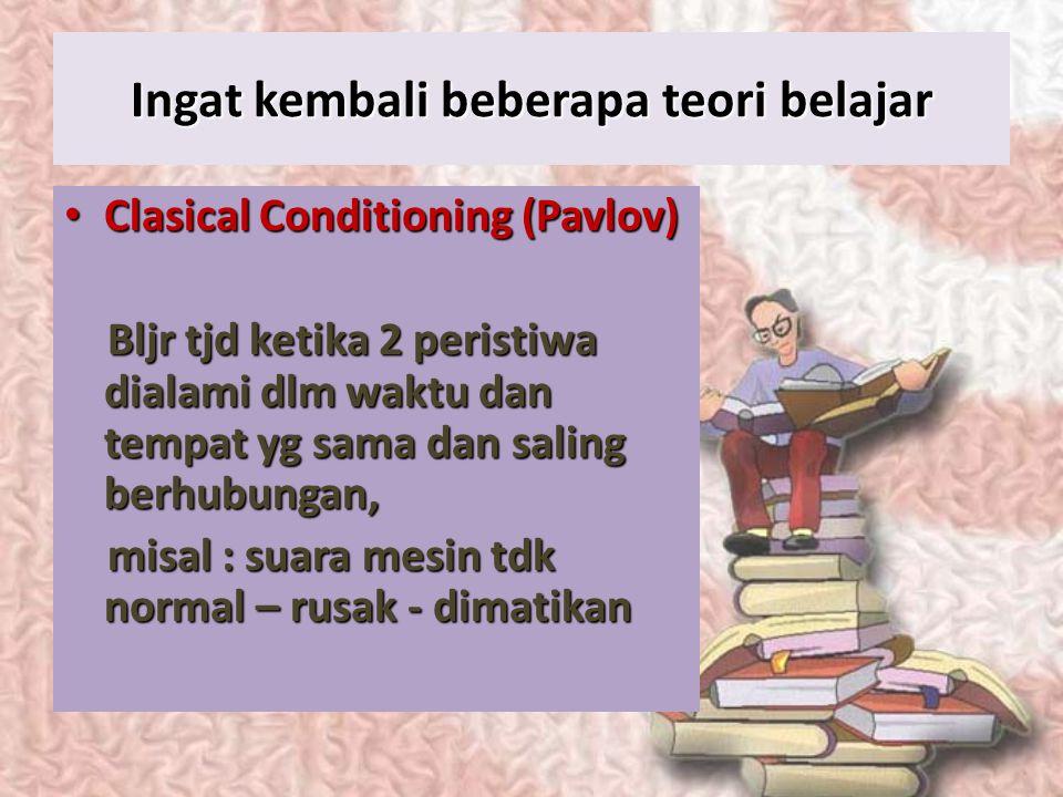 Dasar Pelatihan Proses belajar (perub. perilaku yang relatif permanen yang terjadi sebagai hasil dari pengalaman) (perub. perilaku yang relatif perman