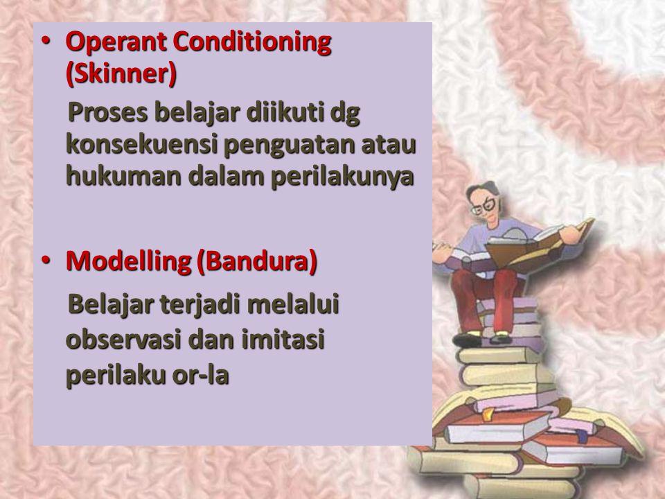 Ingat kembali beberapa teori belajar Clasical Conditioning (Pavlov) Clasical Conditioning (Pavlov) Bljr tjd ketika 2 peristiwa dialami dlm waktu dan t