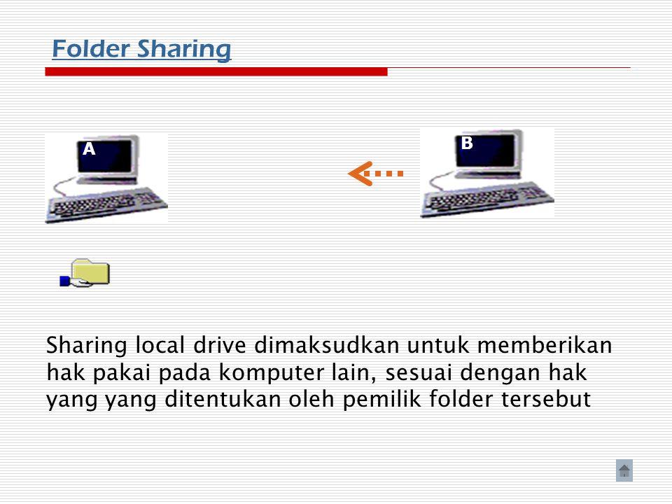 Folder Sharing A B Sharing local drive dimaksudkan untuk memberikan hak pakai pada komputer lain, sesuai dengan hak yang yang ditentukan oleh pemilik