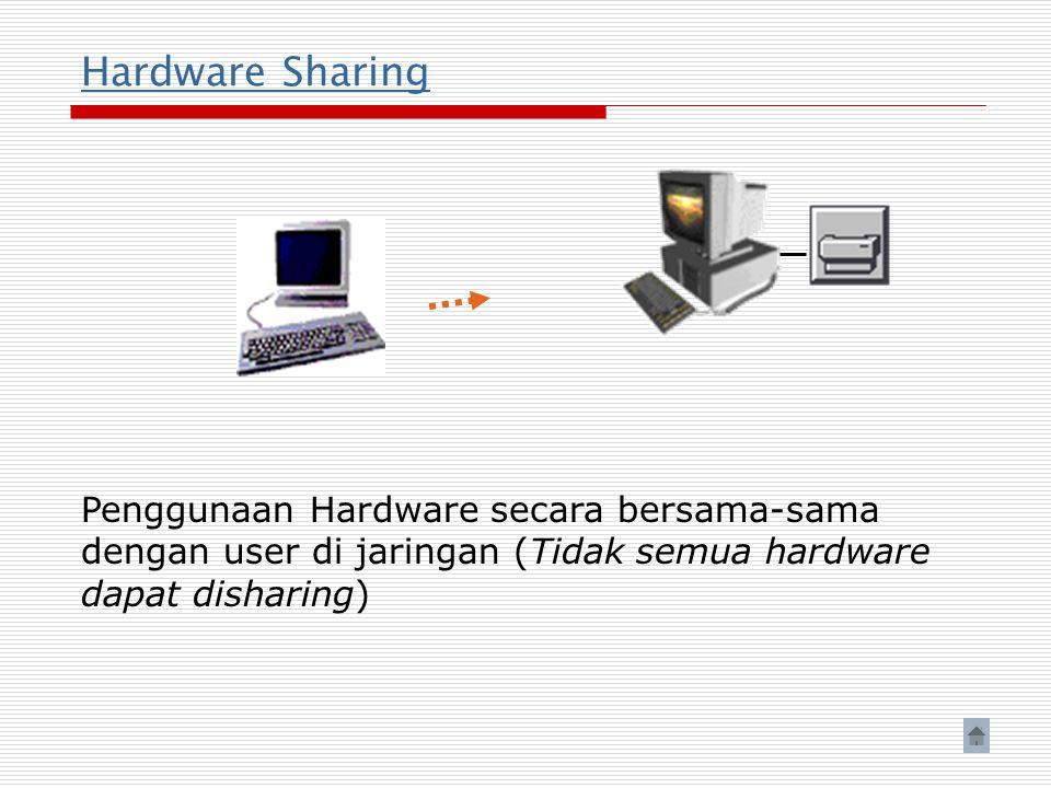 Hardware Sharing Penggunaan Hardware secara bersama-sama dengan user di jaringan (Tidak semua hardware dapat disharing)