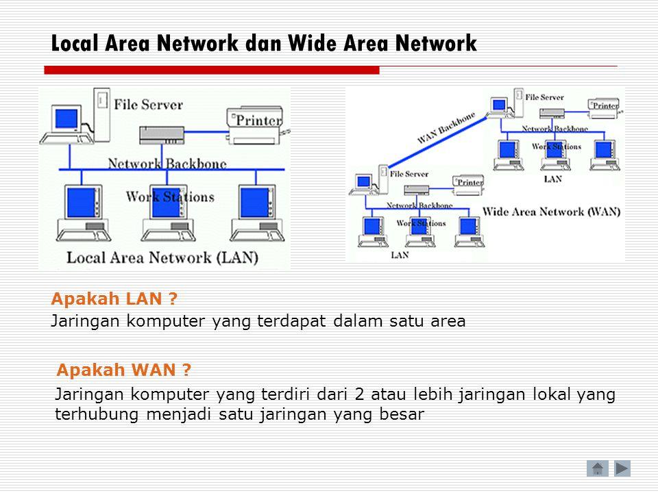 Local Area Network dan Wide Area Network Apakah LAN ? Apakah WAN ? Jaringan komputer yang terdapat dalam satu area Jaringan komputer yang terdiri dari