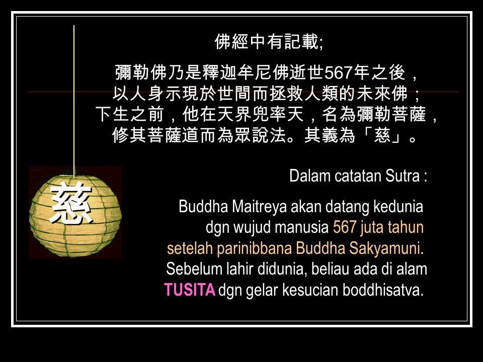 佛經中有記載 ; 彌勒佛乃是釋迦牟尼佛逝世 567 年之後, 以人身示現於世間而拯救人類的未來佛; 下生之前,他在天界兜率天,名為彌勒菩薩, 修其菩薩道而為眾說法。其義為「慈」。 Dalam catatan Sutra : Buddha Maitreya akan datang kedunia dg