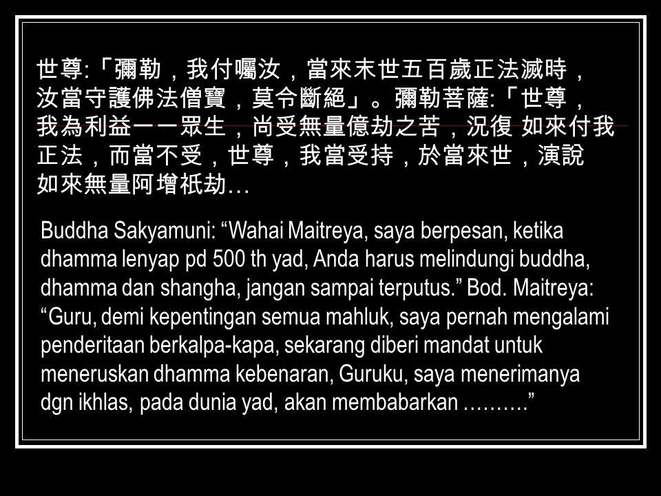 """世尊 : 「彌勒,我付囑汝,當來末世五百歲正法滅時, 汝當守護佛法僧寶,莫令斷絕」。彌勒菩薩 : 「世尊, 我為利益一一眾生,尚受無量億劫之苦,況復 如來付我 正法,而當不受,世尊,我當受持,於當來世,演說 如來無量阿增祇劫 … Buddha Sakyamuni: """"Wahai Maitreya,"""