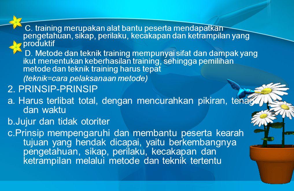 PRIBADI TRAINER Adalah keseluruhan sifat trainer yang tercermin dalam pelaksanaan perannya sebagai trainer, meliputi : 1.KEYAKINAN Keyakinan trainer t