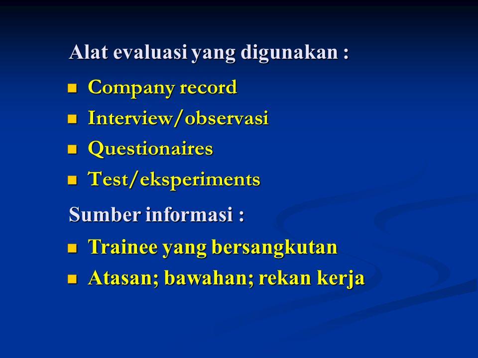 Alat evaluasi yang digunakan : Company record Company record Interview/observasi Interview/observasi Questionaires Questionaires Test/eksperiments Tes