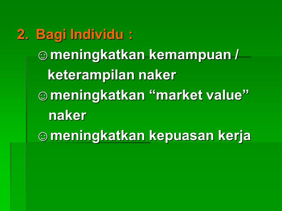 2.Bagi Individu : ☺meningkatkan kemampuan / keterampilan naker keterampilan naker ☺meningkatkan market value naker naker ☺meningkatkan kepuasan kerja