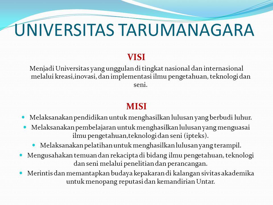 UNIVERSITAS TARUMANAGARA VISI Menjadi Universitas yang unggulan di tingkat nasional dan internasional melalui kreasi,inovasi, dan implementasi ilmu pe