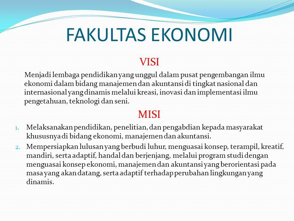 FAKULTAS EKONOMI VISI Menjadi lembaga pendidikan yang unggul dalam pusat pengembangan ilmu ekonomi dalam bidang manajemen dan akuntansi di tingkat nas