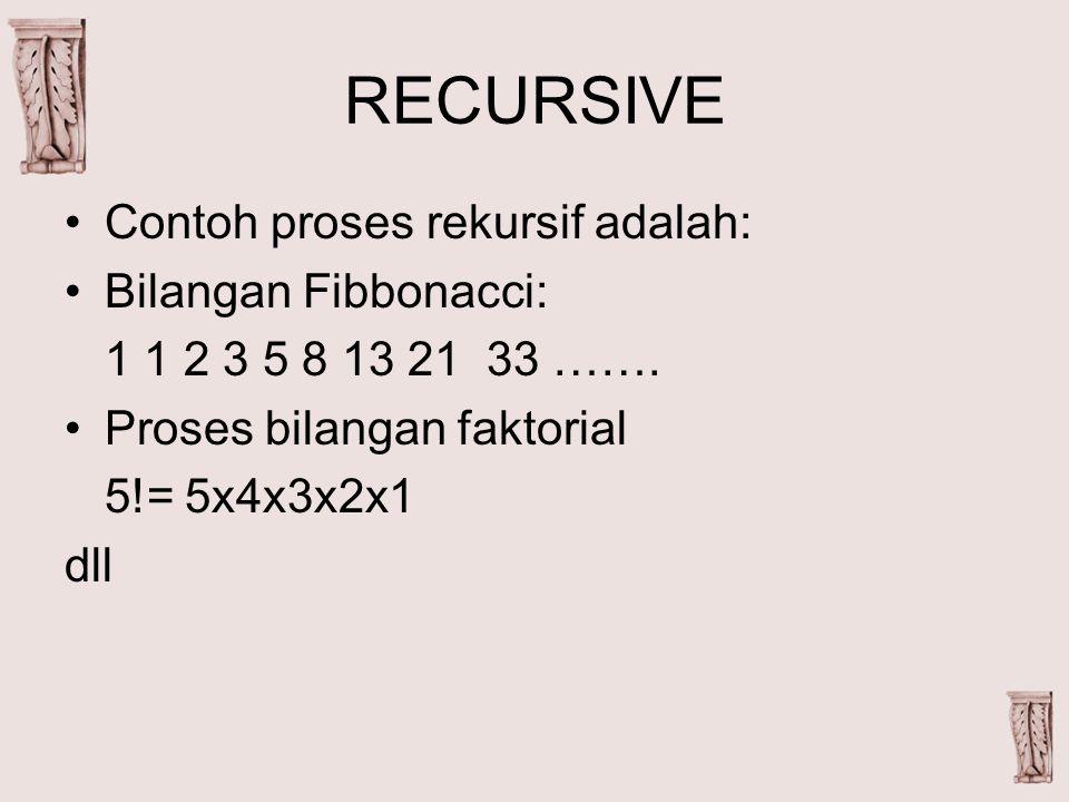 RECURSIVE Contoh proses rekursif adalah: Bilangan Fibbonacci: 1 1 2 3 5 8 13 21 33 …….