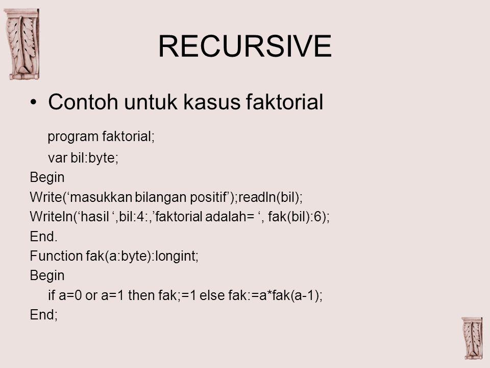 RECURSIVE Contoh untuk kasus faktorial program faktorial; var bil:byte; Begin Write('masukkan bilangan positif');readln(bil); Writeln('hasil ',bil:4:,'faktorial adalah= ', fak(bil):6); End.