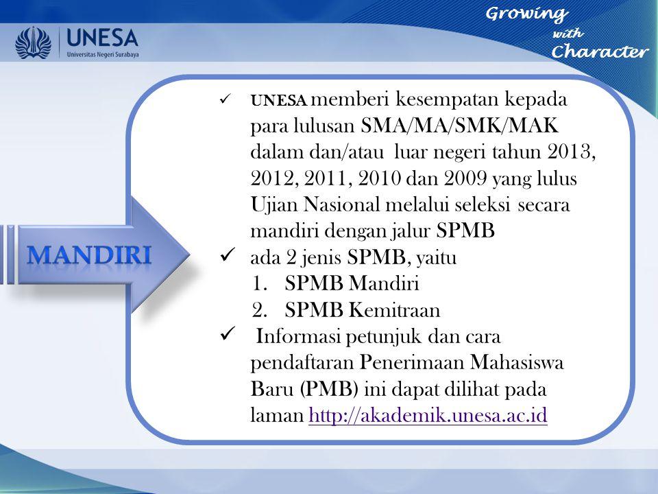 UNESA memberi kesempatan kepada para lulusan SMA/MA/SMK/MAK dalam dan/atau luar negeri tahun 2013, 2012, 2011, 2010 dan 2009 yang lulus Ujian Nasional
