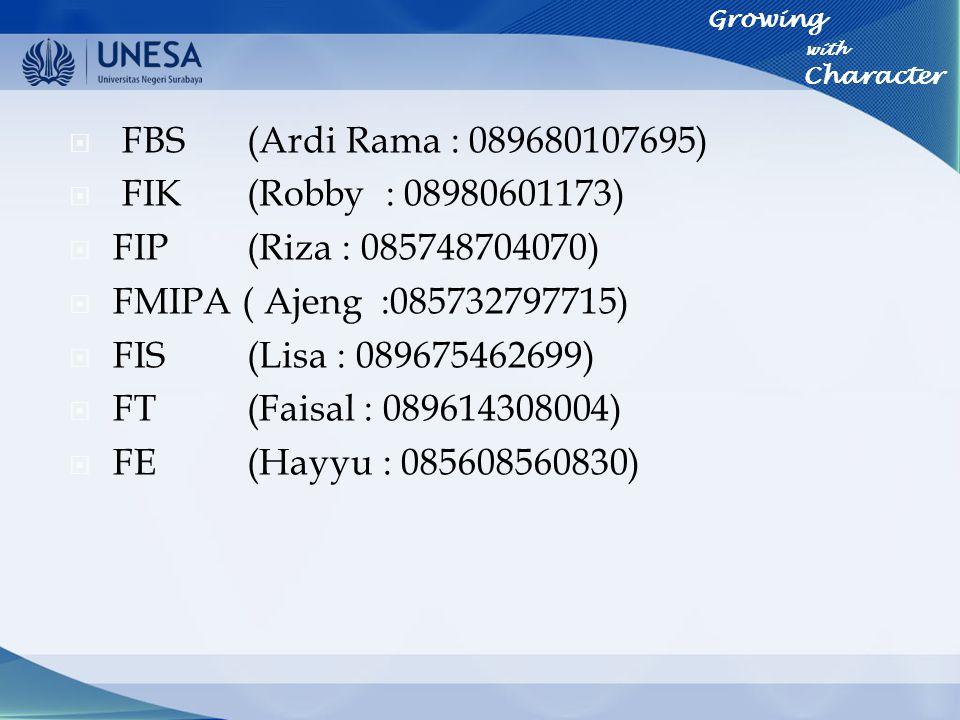  FBS (Ardi Rama : 089680107695)  FIK(Robby : 08980601173)  FIP(Riza : 085748704070)  FMIPA ( Ajeng :085732797715)  FIS (Lisa : 089675462699)  FT