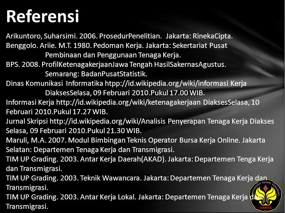 Referensi Arikuntoro, Suharsimi. 2006. ProsedurPenelitian. Jakarta: RinekaCipta. Benggolo. Ariie. M.T. 1980. Pedoman Kerja. Jakarta: Sekertariat Pusat