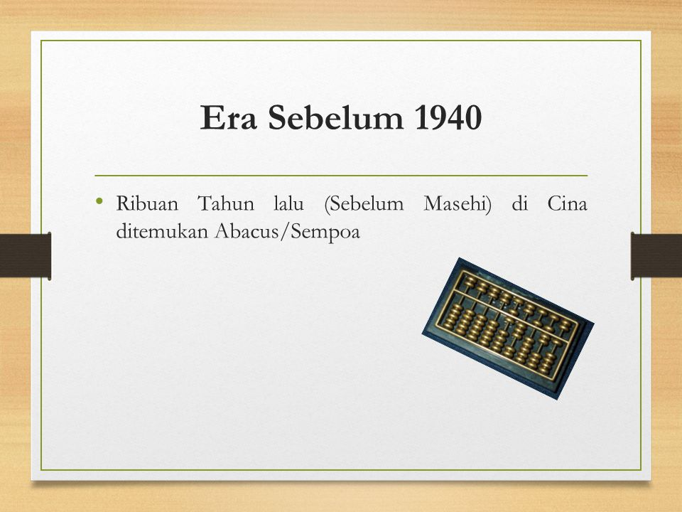 Era Setelah 1940 Generasi Kedua (1959 -1964) Contoh: UNIVAC III, UNIVAC SS80, SS90 dan 1107, Burroughs 200 (pabrik pembuatnya Burroughs), IBM 7070, 7080, 1400 dan 1600 (International Business Machine), NCR 300 (National Cash Register), Honeywell 400 dan 800 (Honeywell), CDC 1604 dan 160A (Control Data Corporation), serta GE 635, 645 dan 200 (General Electric).