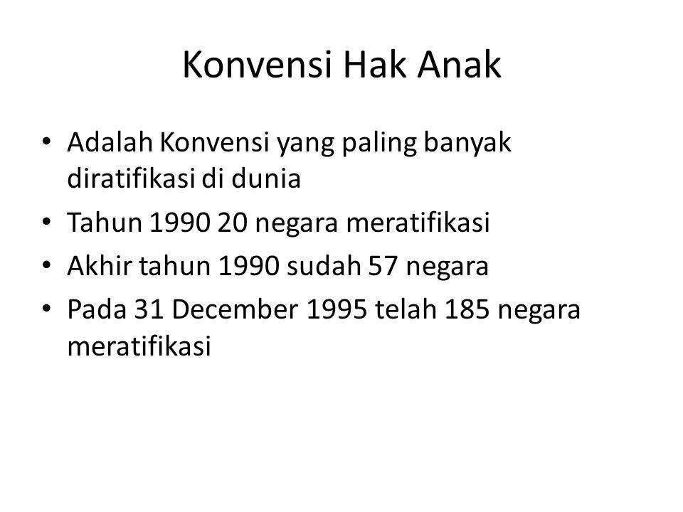 Konvensi Hak Anak Adalah Konvensi yang paling banyak diratifikasi di dunia Tahun 1990 20 negara meratifikasi Akhir tahun 1990 sudah 57 negara Pada 31 December 1995 telah 185 negara meratifikasi