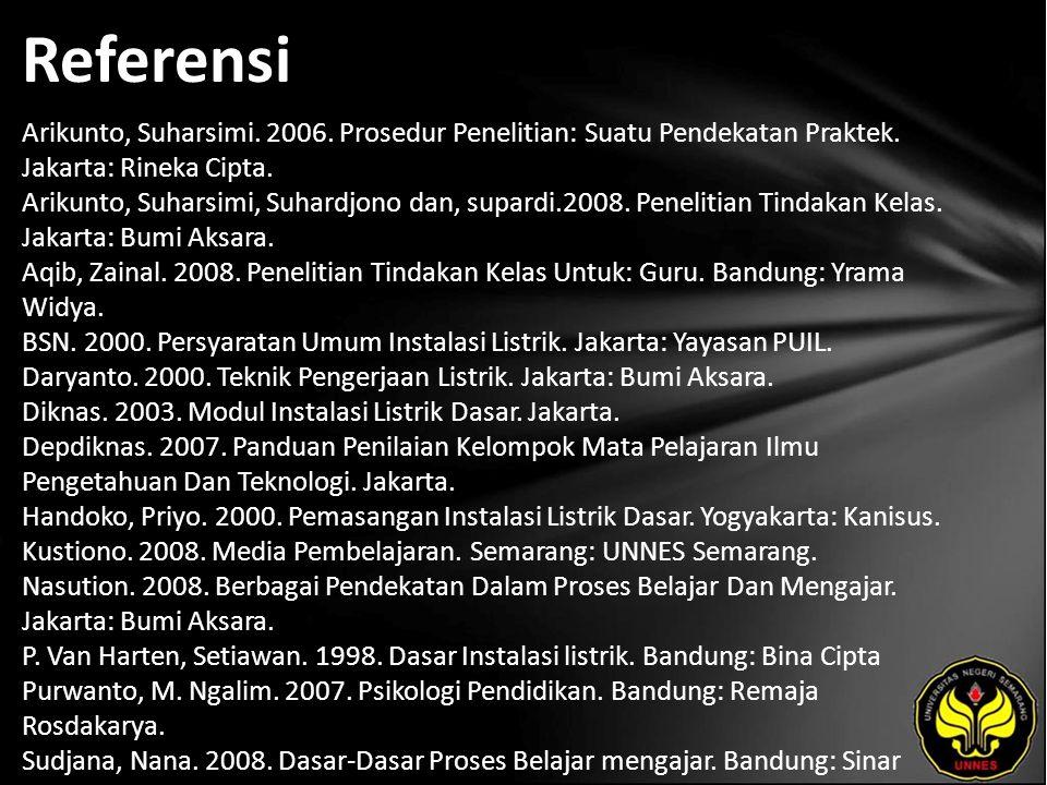 Referensi Arikunto, Suharsimi. 2006. Prosedur Penelitian: Suatu Pendekatan Praktek. Jakarta: Rineka Cipta. Arikunto, Suharsimi, Suhardjono dan, supard