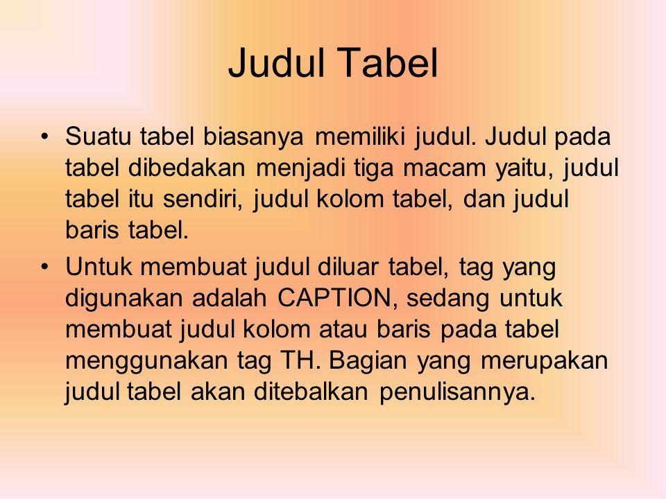 Judul Tabel Suatu tabel biasanya memiliki judul. Judul pada tabel dibedakan menjadi tiga macam yaitu, judul tabel itu sendiri, judul kolom tabel, dan