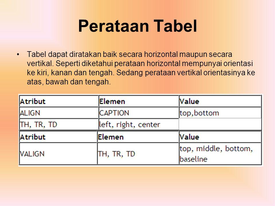 Perataan Tabel Tabel dapat diratakan baik secara horizontal maupun secara vertikal. Seperti diketahui perataan horizontal mempunyai orientasi ke kiri,