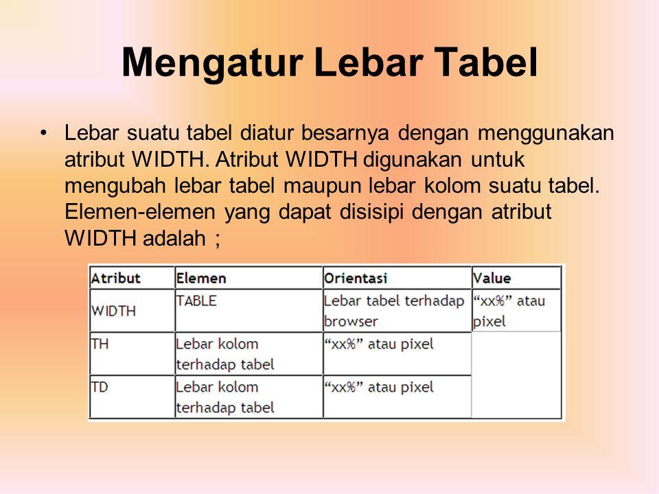 Mengatur Lebar Tabel Lebar suatu tabel diatur besarnya dengan menggunakan atribut WIDTH. Atribut WIDTH digunakan untuk mengubah lebar tabel maupun leb