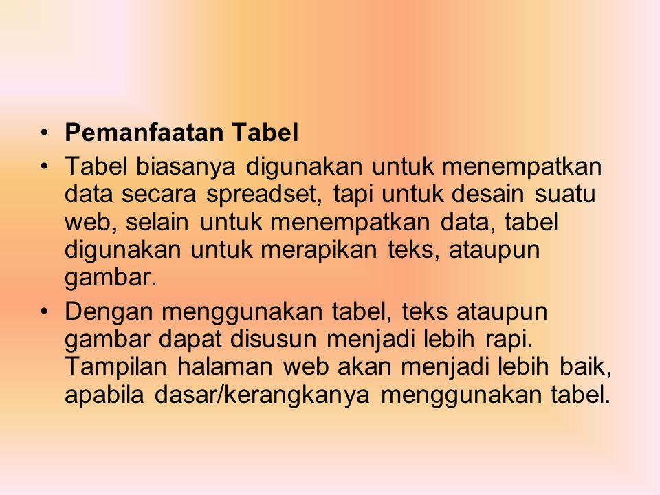 Pemanfaatan Tabel Tabel biasanya digunakan untuk menempatkan data secara spreadset, tapi untuk desain suatu web, selain untuk menempatkan data, tabel