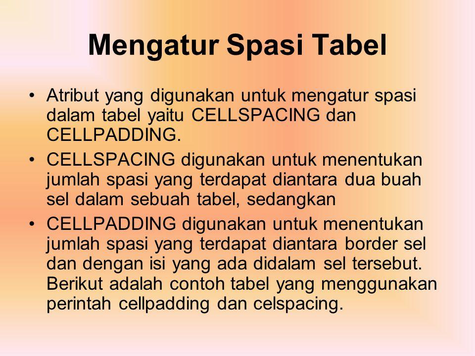 Mengatur Spasi Tabel Atribut yang digunakan untuk mengatur spasi dalam tabel yaitu CELLSPACING dan CELLPADDING. CELLSPACING digunakan untuk menentukan