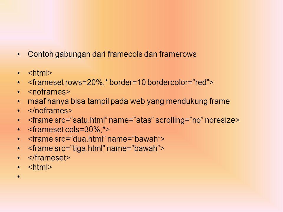 Contoh gabungan dari framecols dan framerows maaf hanya bisa tampil pada web yang mendukung frame