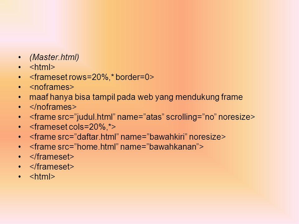 (Master.html) maaf hanya bisa tampil pada web yang mendukung frame
