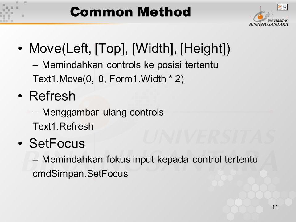 11 Common Method Move(Left, [Top], [Width], [Height]) –Memindahkan controls ke posisi tertentu Text1.Move(0, 0, Form1.Width * 2) Refresh –Menggambar ulang controls Text1.Refresh SetFocus –Memindahkan fokus input kepada control tertentu cmdSimpan.SetFocus