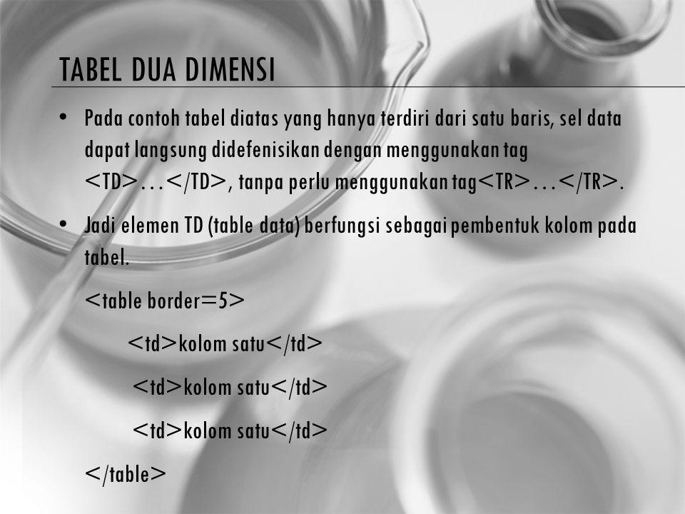 TABEL DUA DIMENSI Pada contoh tabel diatas yang hanya terdiri dari satu baris, sel data dapat langsung didefenisikan dengan menggunakan tag …, tanpa p