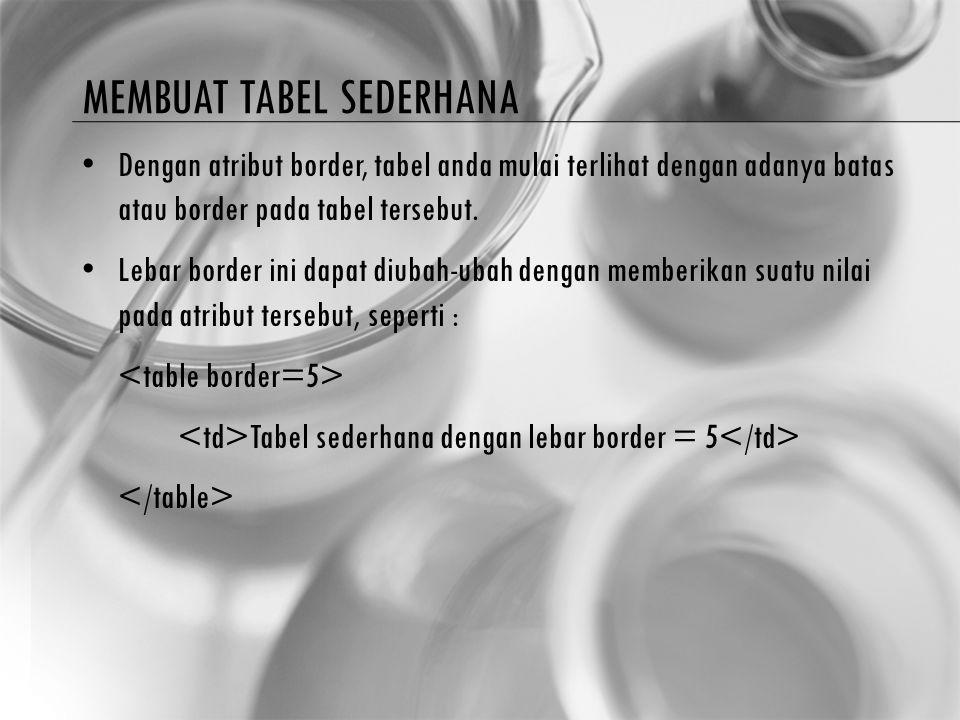 TABEL DUA DIMENSI Pada contoh tabel diatas yang hanya terdiri dari satu baris, sel data dapat langsung didefenisikan dengan menggunakan tag …, tanpa perlu menggunakan tag ….