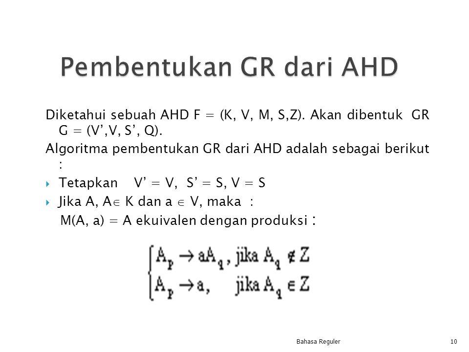 Diketahui sebuah AHD F = (K, V, M, S,Z). Akan dibentuk GR G = (V',V, S', Q). Algoritma pembentukan GR dari AHD adalah sebagai berikut :  Tetapkan V'