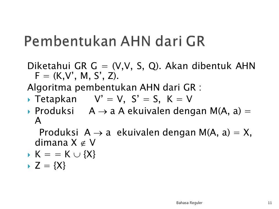 Diketahui GR G = (V,V, S, Q). Akan dibentuk AHN F = (K,V', M, S', Z). Algoritma pembentukan AHN dari GR :  Tetapkan V' = V, S' = S, K = V  Produksi