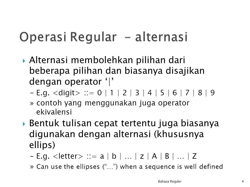  Alternasi membolehkan pilihan dari beberapa pilihan dan biasanya disajikan dengan operator ' ' – E.g. ::= 0   1   2   3   4   5   6   7   8   9 » co