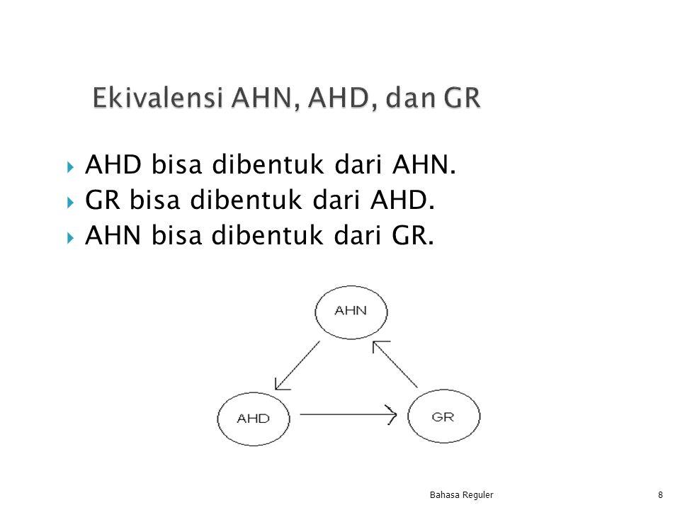  AHD bisa dibentuk dari AHN.  GR bisa dibentuk dari AHD.  AHN bisa dibentuk dari GR. Bahasa Reguler8
