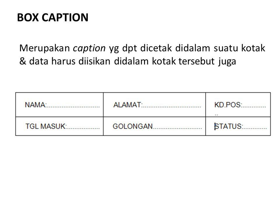 BOX CAPTION Merupakan caption yg dpt dicetak didalam suatu kotak & data harus diisikan didalam kotak tersebut juga