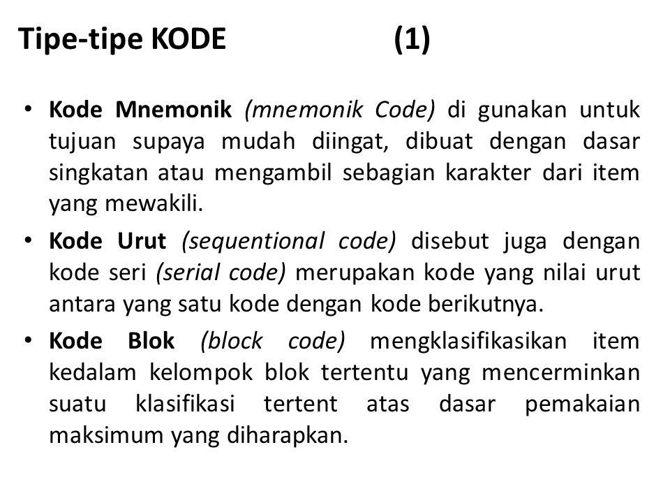 Tipe-tipe KODE (1) Kode Mnemonik (mnemonik Code) di gunakan untuk tujuan supaya mudah diingat, dibuat dengan dasar singkatan atau mengambil sebagian karakter dari item yang mewakili.