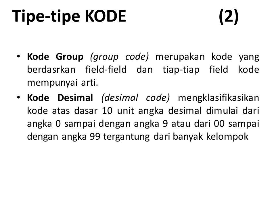 Tipe-tipe KODE (2) Kode Group (group code) merupakan kode yang berdasrkan field-field dan tiap-tiap field kode mempunyai arti.