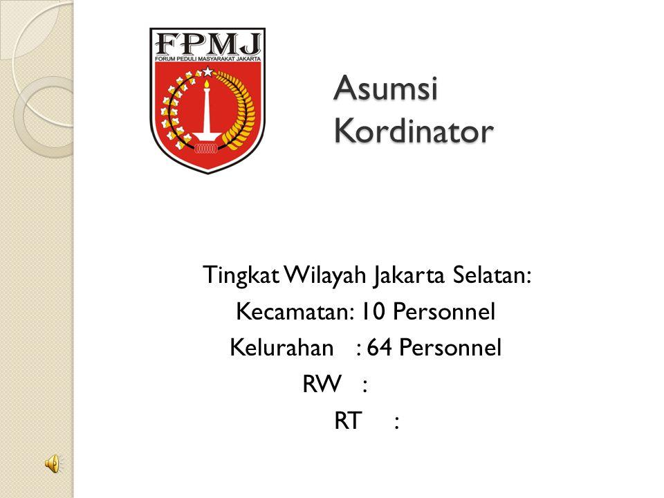 Asumsi Kordinator Tingkat Wilayah Jakarta Selatan: Kecamatan: 10 Personnel Kelurahan: 64 Personnel RW: RT: