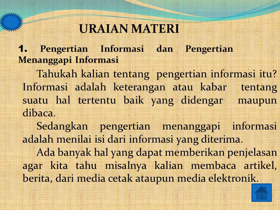 MATERI PEMBELAJARAN 1.Menjelaskan pengertian informasi dan pengertian menanggapi informasi 2. Menyebutkan langkah-langkah menanggapi informasi 3. Memb