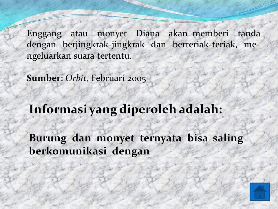 Baiklah untuk mengetahui sebuah informasi mari kita baca teks informasi berikut! Monyet dan Burung Saling Memahami Bahasa masing-masing yang berbeda.