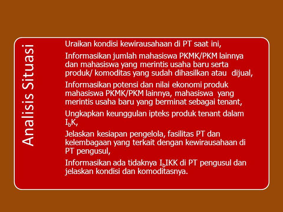 Analisis Situasi Uraikan kondisi kewirausahaan di PT saat ini, Informasikan jumlah mahasiswa PKMK/PKM lainnya dan mahasiswa yang merintis usaha baru s