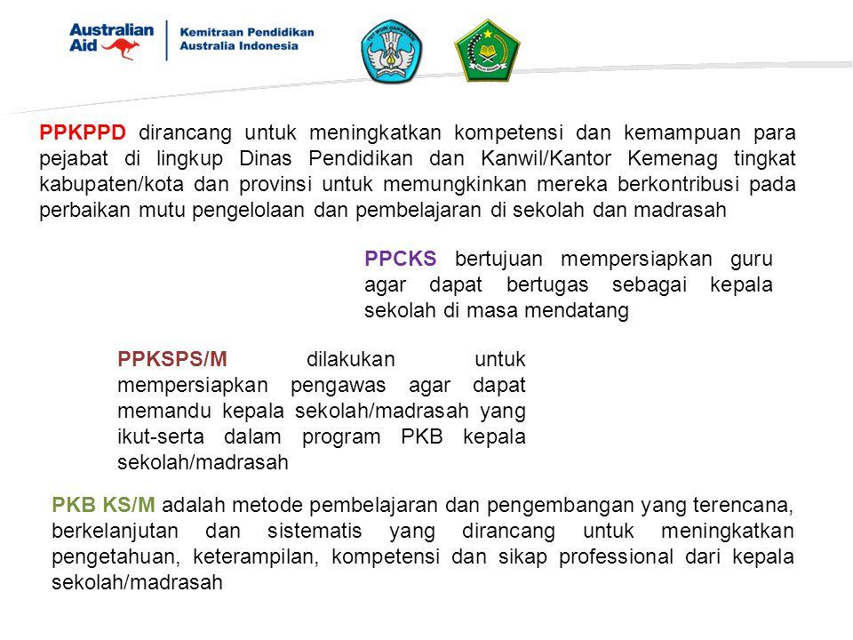 PPKPPD dirancang untuk meningkatkan kompetensi dan kemampuan para pejabat di lingkup Dinas Pendidikan dan Kanwil/Kantor Kemenag tingkat kabupaten/kota