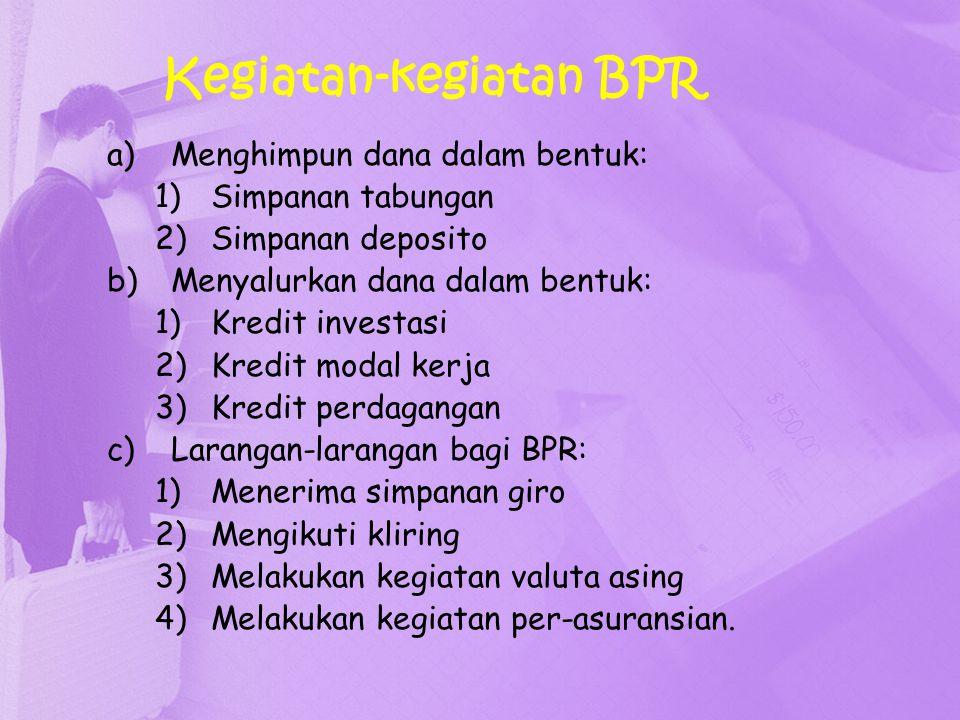 Kegiatan-kegiatan BPR a)Menghimpun dana dalam bentuk: 1)Simpanan tabungan 2)Simpanan deposito b)Menyalurkan dana dalam bentuk: 1)Kredit investasi 2)Kr