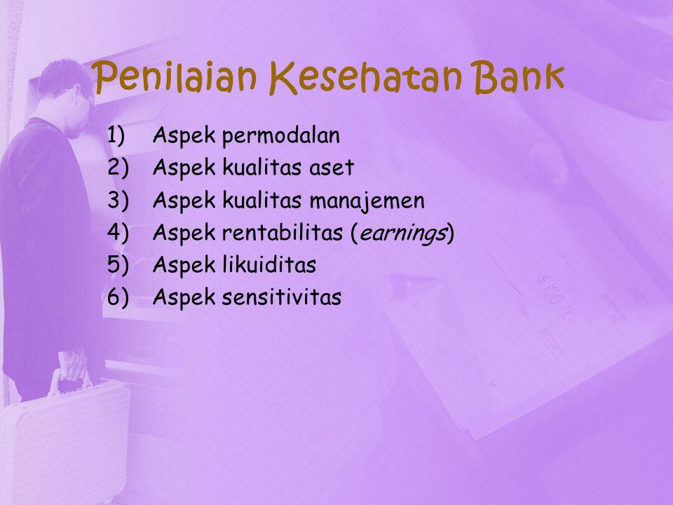 Penilaian Kesehatan Bank 1)Aspek permodalan 2)Aspek kualitas aset 3)Aspek kualitas manajemen 4)Aspek rentabilitas (earnings) 5)Aspek likuiditas 6)Aspe