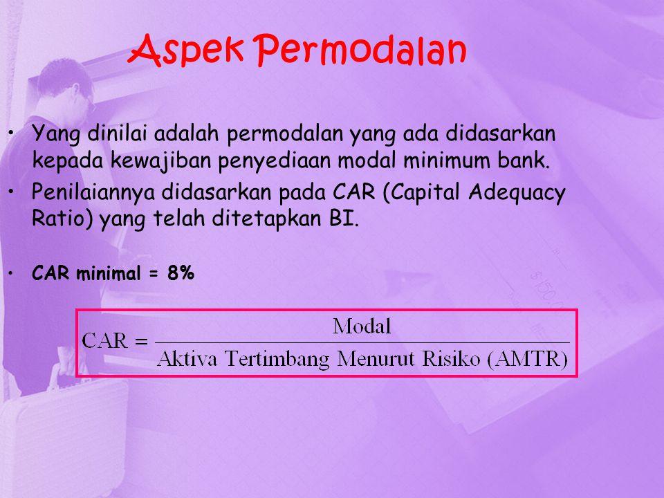 Aspek Permodalan Yang dinilai adalah permodalan yang ada didasarkan kepada kewajiban penyediaan modal minimum bank. Penilaiannya didasarkan pada CAR (