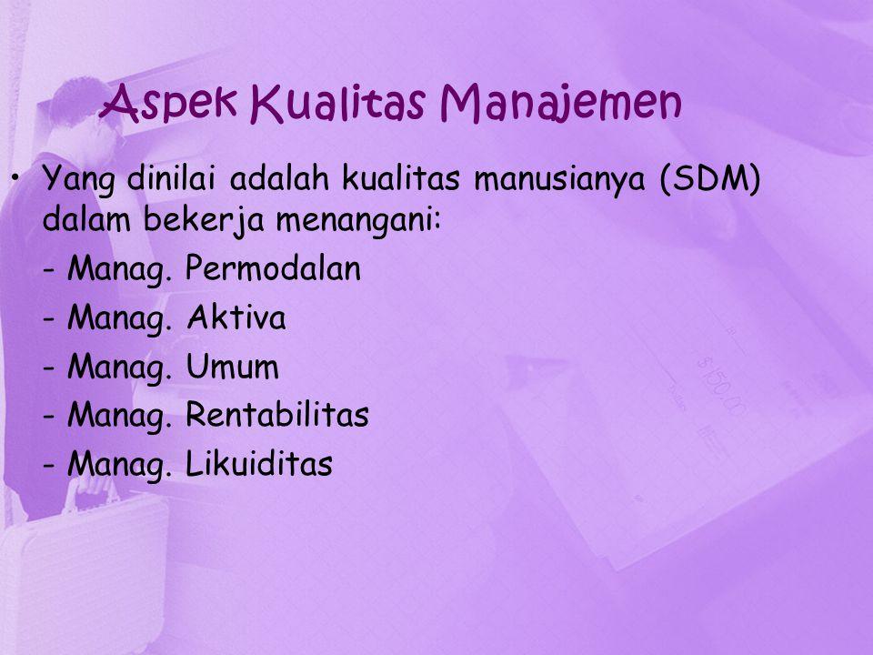 Aspek Kualitas Manajemen Yang dinilai adalah kualitas manusianya (SDM) dalam bekerja menangani: - Manag. Permodalan - Manag. Aktiva - Manag. Umum - Ma